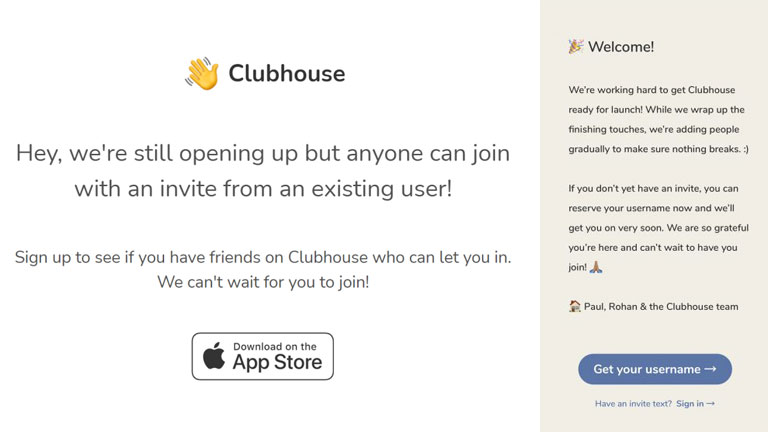 application discussions clubhouse sur invitation seulement